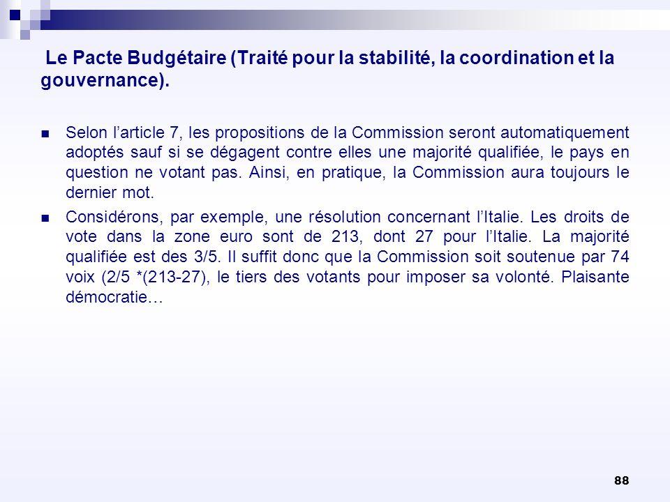 88 Le Pacte Budgétaire (Traité pour la stabilité, la coordination et la gouvernance). Selon larticle 7, les propositions de la Commission seront autom