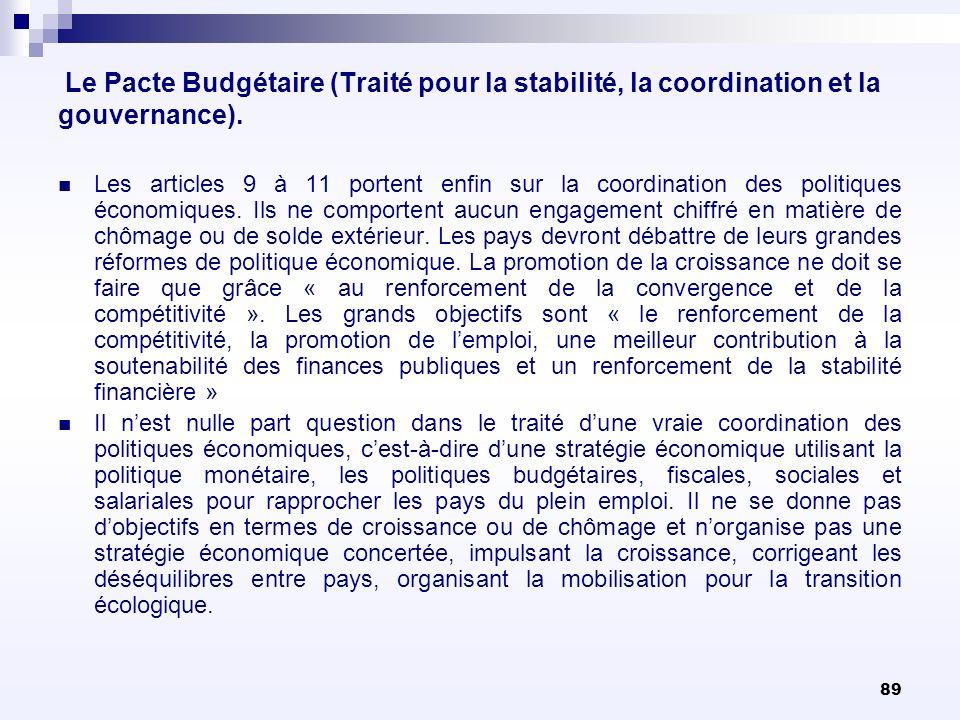 89 Le Pacte Budgétaire (Traité pour la stabilité, la coordination et la gouvernance). Les articles 9 à 11 portent enfin sur la coordination des politi