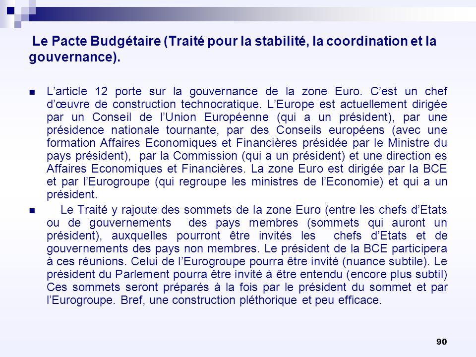 90 Le Pacte Budgétaire (Traité pour la stabilité, la coordination et la gouvernance). Larticle 12 porte sur la gouvernance de la zone Euro. Cest un ch