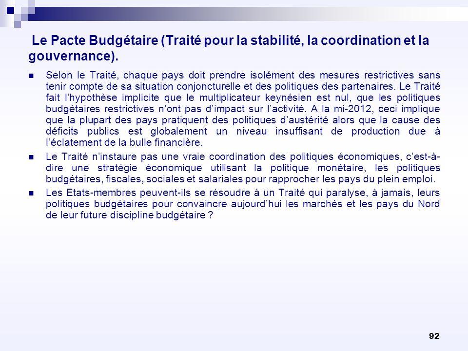 92 Le Pacte Budgétaire (Traité pour la stabilité, la coordination et la gouvernance). Selon le Traité, chaque pays doit prendre isolément des mesures
