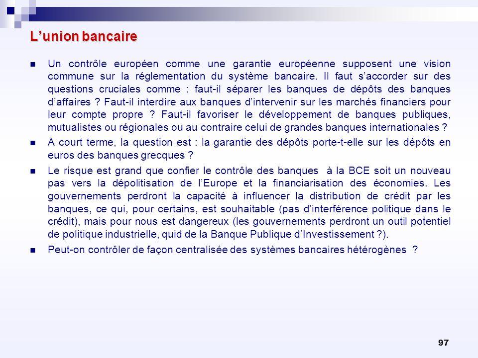 97 Lunion bancaire Un contrôle européen comme une garantie européenne supposent une vision commune sur la réglementation du système bancaire. Il faut