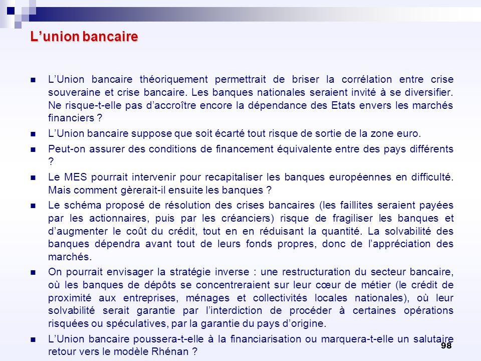 98 Lunion bancaire LUnion bancaire théoriquement permettrait de briser la corrélation entre crise souveraine et crise bancaire. Les banques nationales
