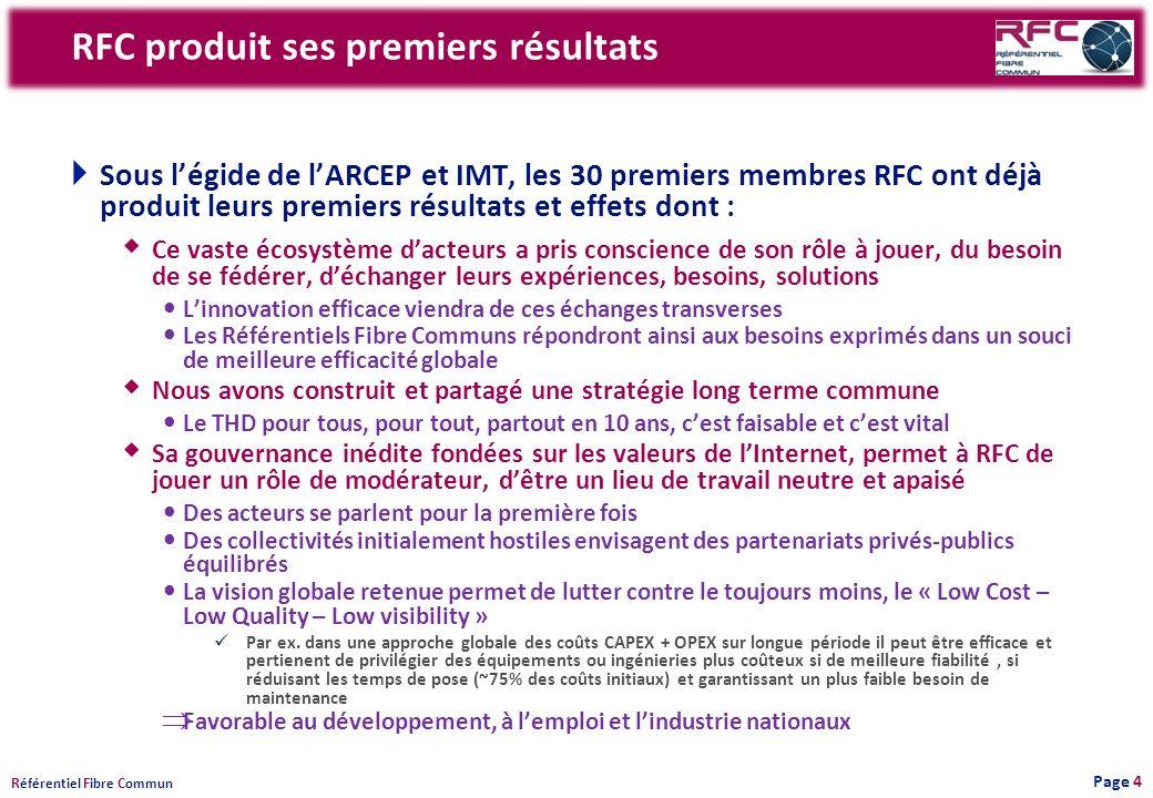 R éférentiel F ibre C ommun RFC produit ses premiers résultats Sous légide de lARCEP et IMT, les 30 premiers membres RFC ont déjà produit leurs premie