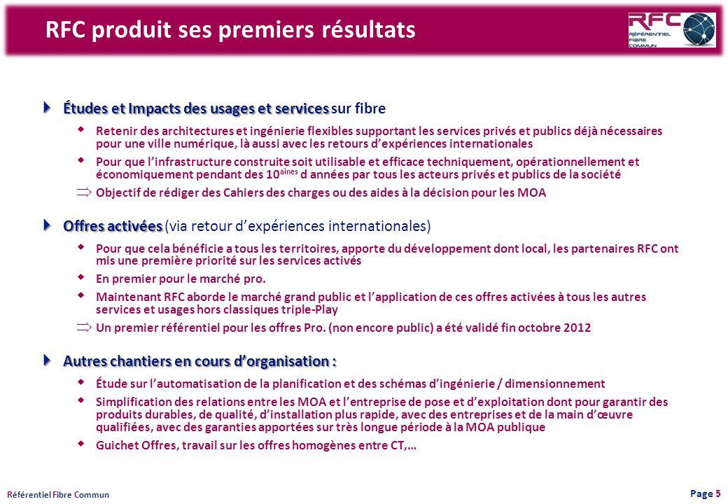 R éférentiel F ibre C ommun RFC produit ses premiers résultats Études et Impacts des usages et services Études et Impacts des usages et services sur f