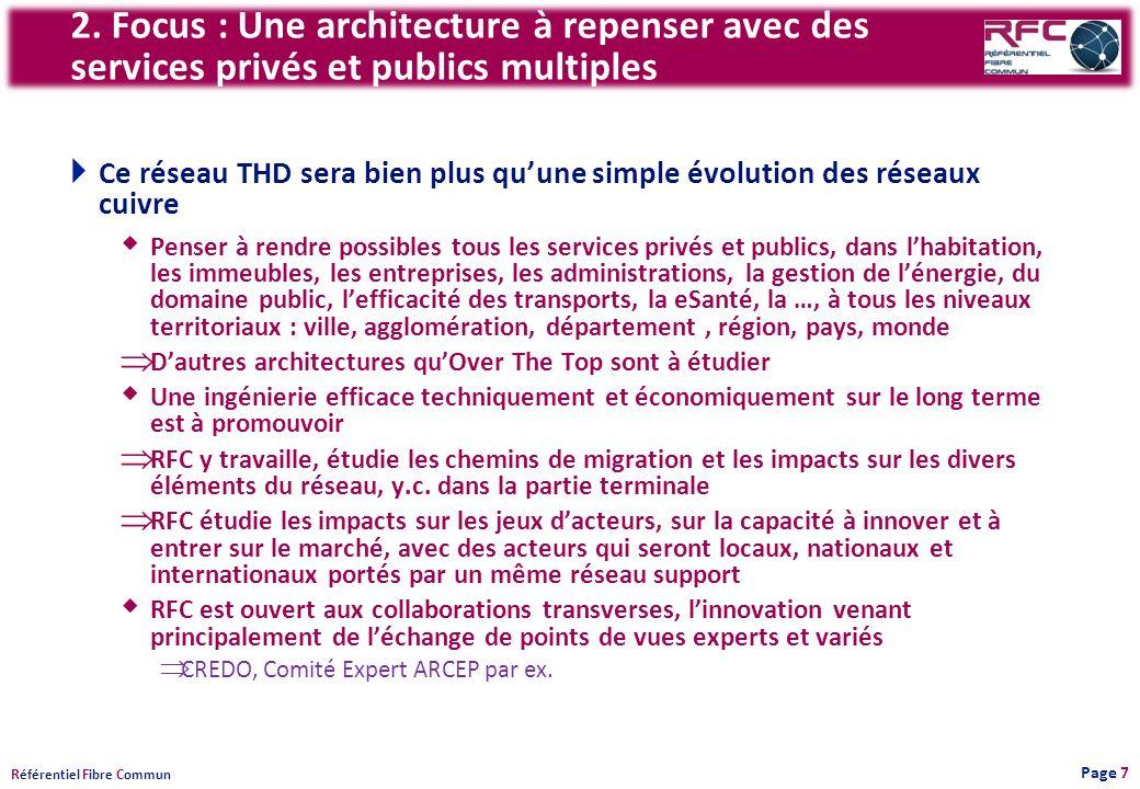 R éférentiel F ibre C ommun 2. Focus : Une architecture à repenser avec des services privés et publics multiples Ce réseau THD sera bien plus quune si
