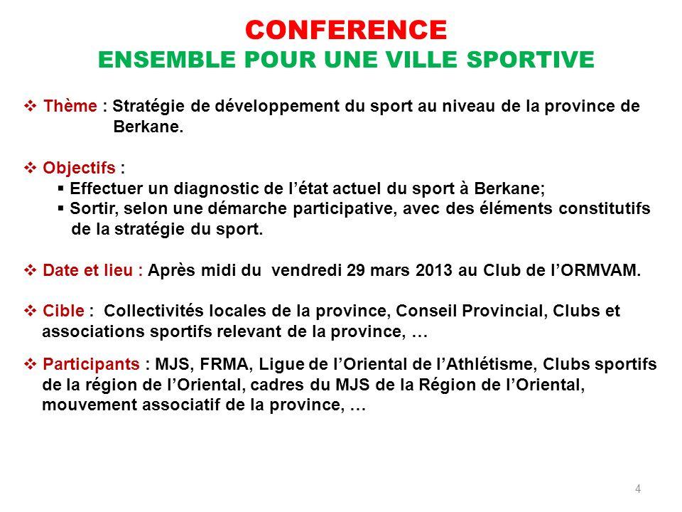 4 CONFERENCE ENSEMBLE POUR UNE VILLE SPORTIVE Thème : Stratégie de développement du sport au niveau de la province de Berkane. Objectifs : Effectuer u