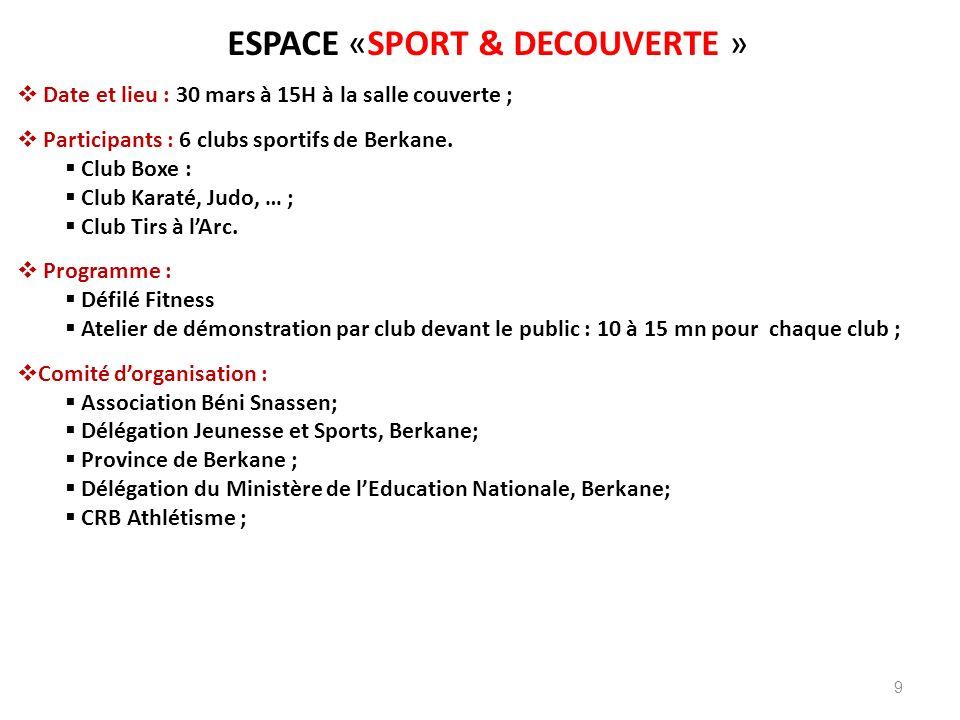 9 ESPACE «SPORT & DECOUVERTE » Date et lieu : 30 mars à 15H à la salle couverte ; Participants : 6 clubs sportifs de Berkane. Club Boxe : Club Karaté,