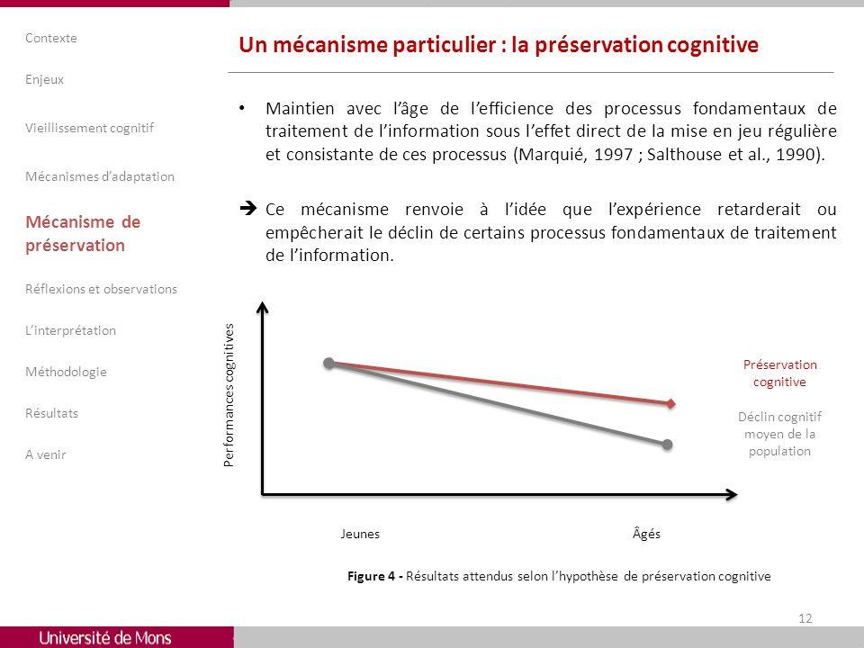 Un mécanisme particulier : la préservation cognitive Maintien avec lâge de lefficience des processus fondamentaux de traitement de linformation sous l