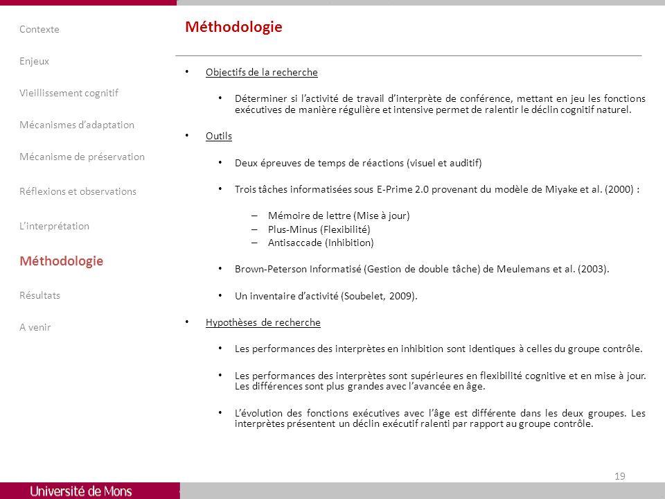 Méthodologie Objectifs de la recherche Déterminer si lactivité de travail dinterprète de conférence, mettant en jeu les fonctions exécutives de manièr