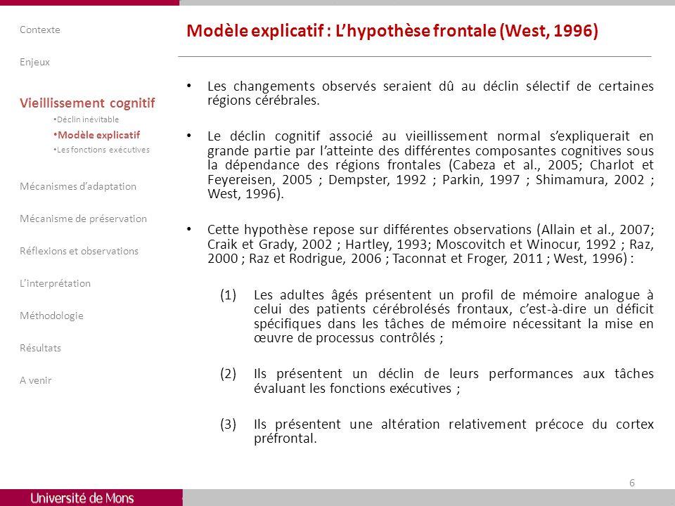 Modèle explicatif : Lhypothèse frontale (West, 1996) Les changements observés seraient dû au déclin sélectif de certaines régions cérébrales. Le décli