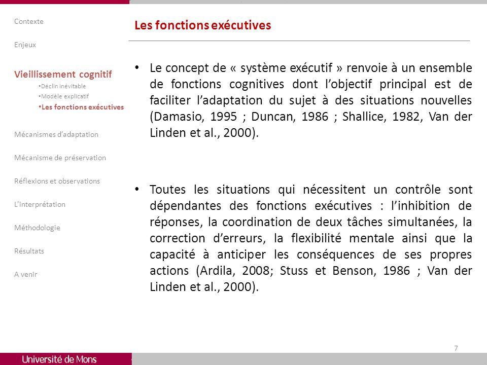 Les fonctions exécutives Le concept de « système exécutif » renvoie à un ensemble de fonctions cognitives dont lobjectif principal est de faciliter la