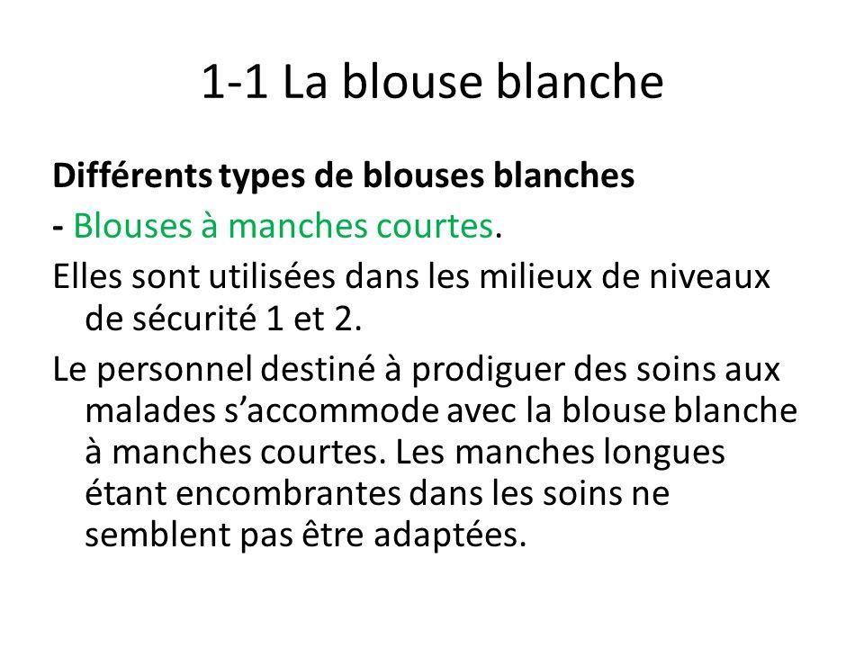 1-1 La blouse blanche Différents types de blouses blanches - Blouses à manches courtes. Elles sont utilisées dans les milieux de niveaux de sécurité 1