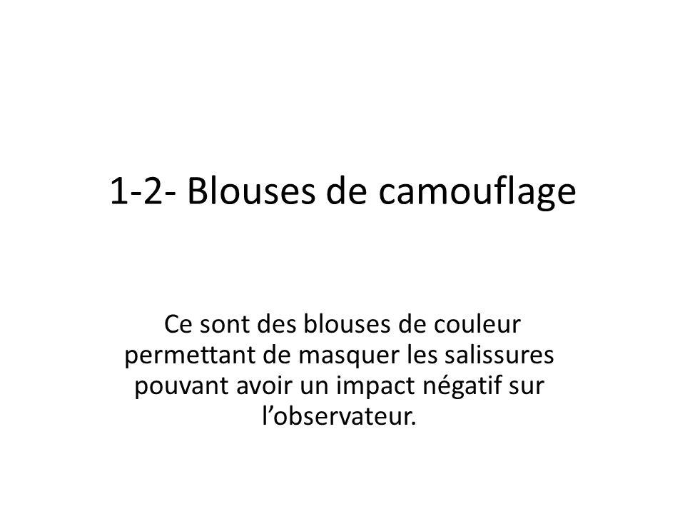 1-2- Blouses de camouflage Ce sont des blouses de couleur permettant de masquer les salissures pouvant avoir un impact négatif sur lobservateur.