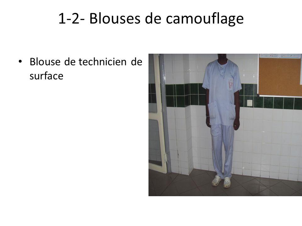 1-2- Blouses de camouflage Blouse de technicien de surface