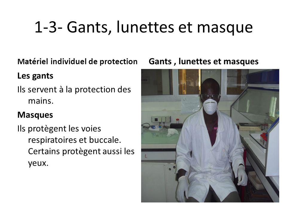 1-3- Gants, lunettes et masque Matériel individuel de protection Les gants Ils servent à la protection des mains. Masques Ils protègent les voies resp