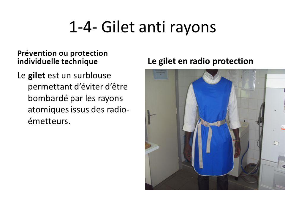 1-4- Gilet anti rayons Prévention ou protection individuelle technique Le gilet est un surblouse permettant déviter dêtre bombardé par les rayons atom