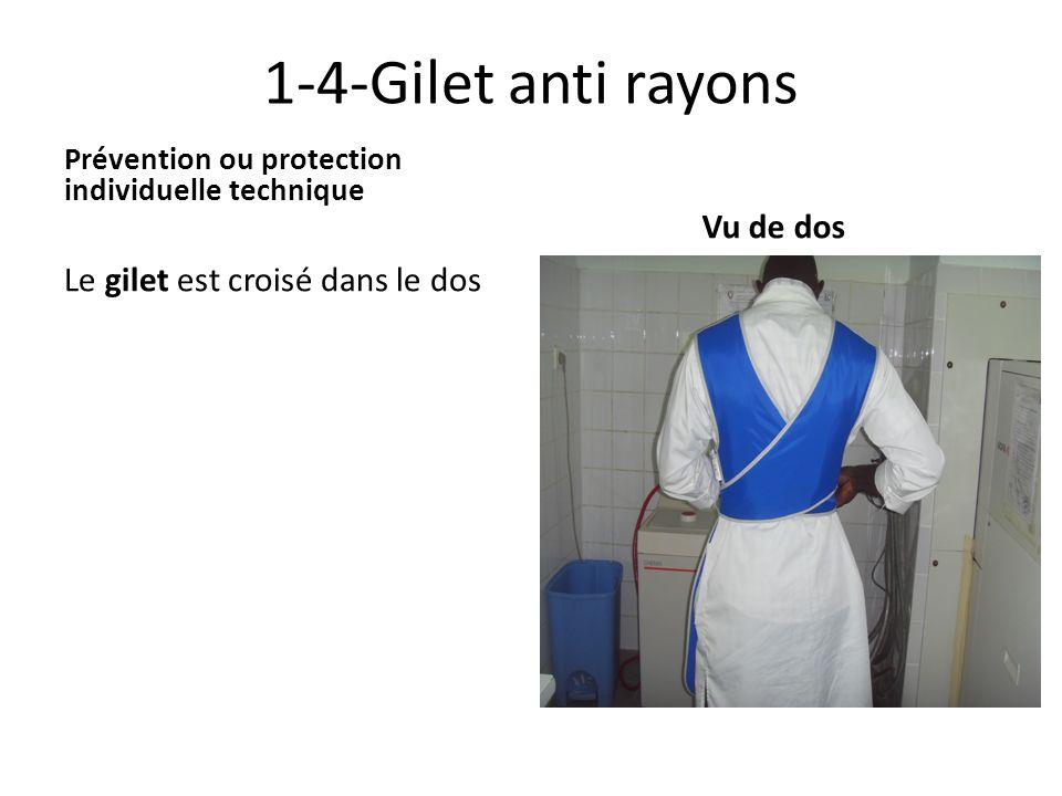 1-4-Gilet anti rayons Prévention ou protection individuelle technique Le gilet est croisé dans le dos Vu de dos