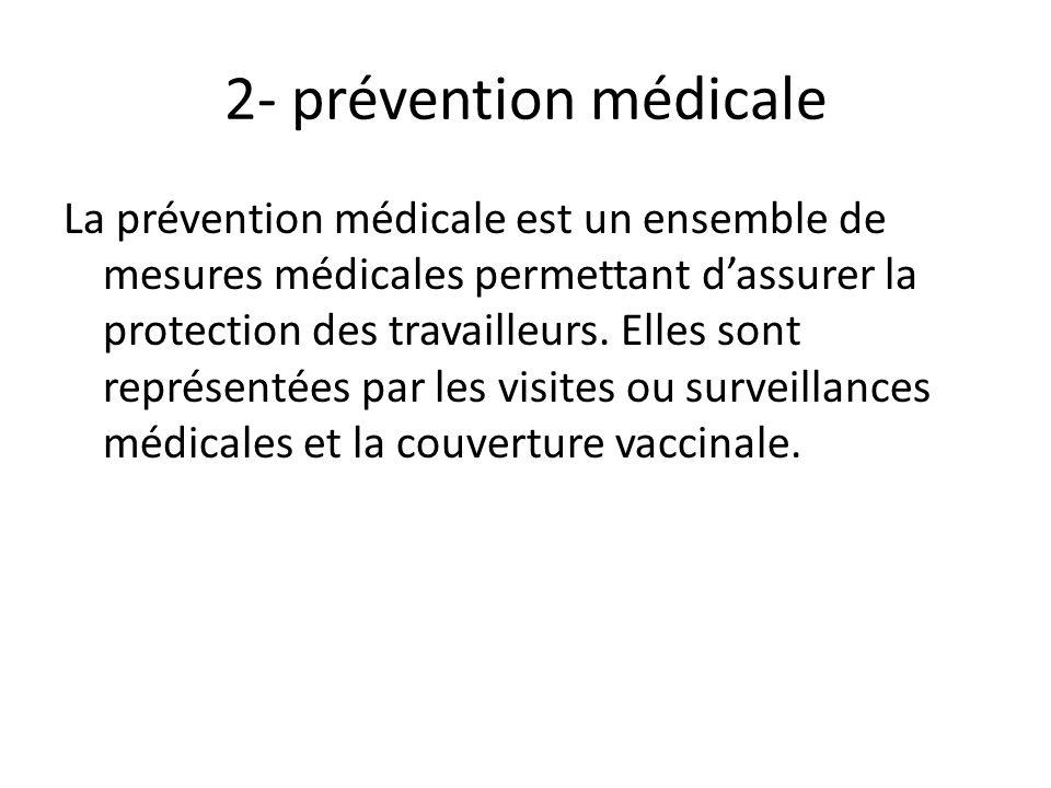 2- prévention médicale La prévention médicale est un ensemble de mesures médicales permettant dassurer la protection des travailleurs. Elles sont repr