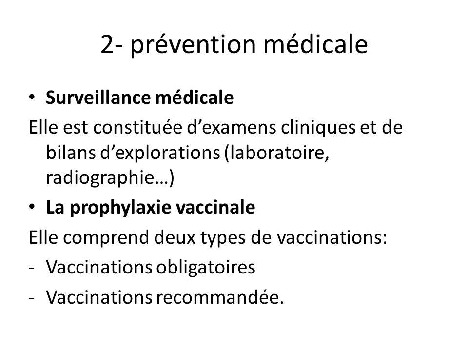 2- prévention médicale Surveillance médicale Elle est constituée dexamens cliniques et de bilans dexplorations (laboratoire, radiographie…) La prophyl