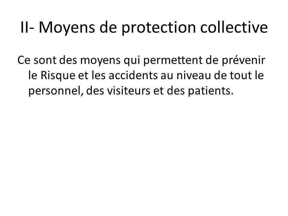 II- Moyens de protection collective Ce sont des moyens qui permettent de prévenir le Risque et les accidents au niveau de tout le personnel, des visit