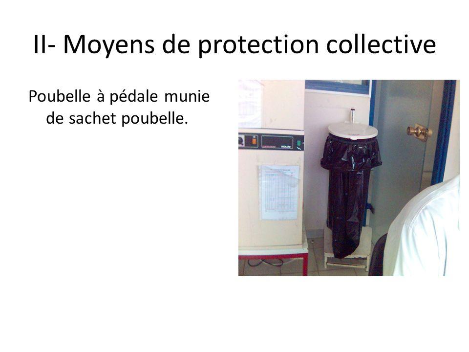 II- Moyens de protection collective Poubelle à pédale munie de sachet poubelle.