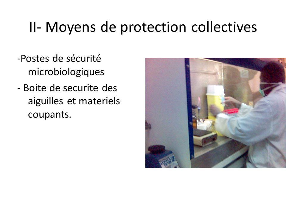 II- Moyens de protection collectives -Postes de sécurité microbiologiques - Boite de securite des aiguilles et materiels coupants.