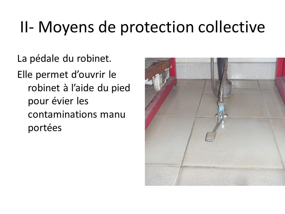 II- Moyens de protection collective La pédale du robinet. Elle permet douvrir le robinet à laide du pied pour évier les contaminations manu portées