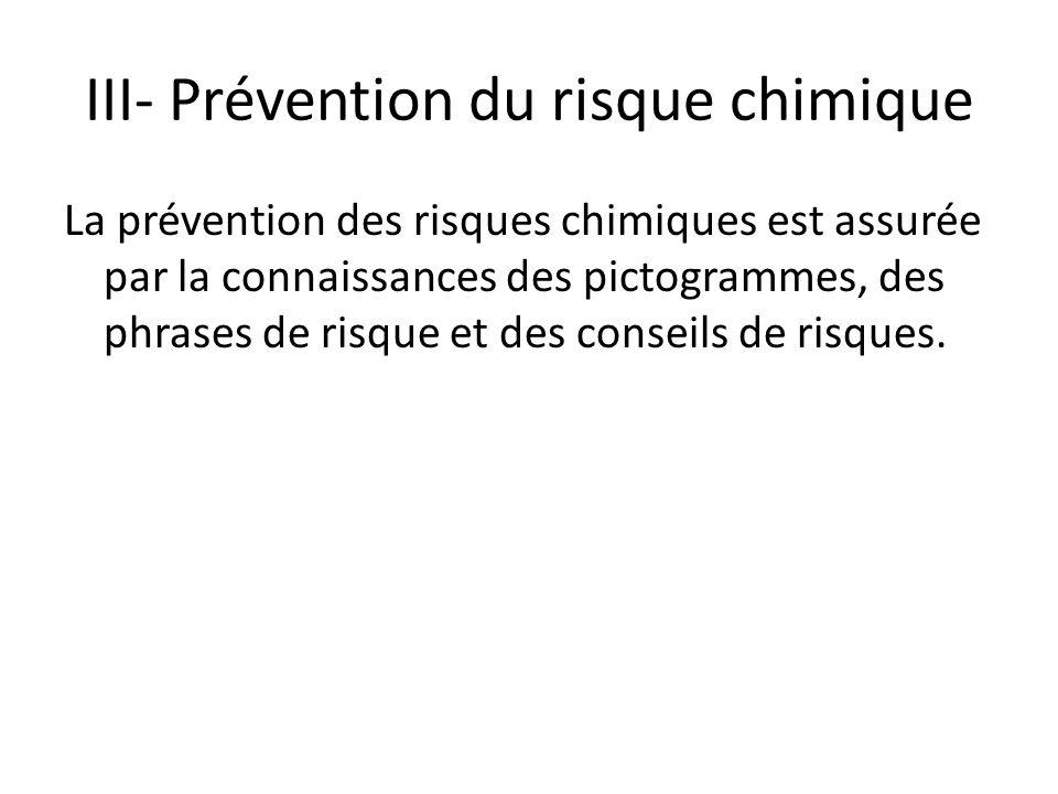III- Prévention du risque chimique La prévention des risques chimiques est assurée par la connaissances des pictogrammes, des phrases de risque et des