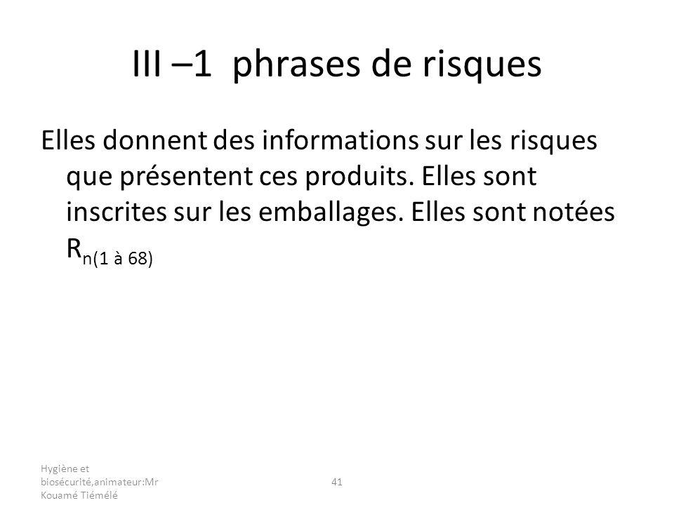 Hygiène et biosécurité,animateur:Mr Kouamé Tiémélé 41 III –1 phrases de risques Elles donnent des informations sur les risques que présentent ces prod
