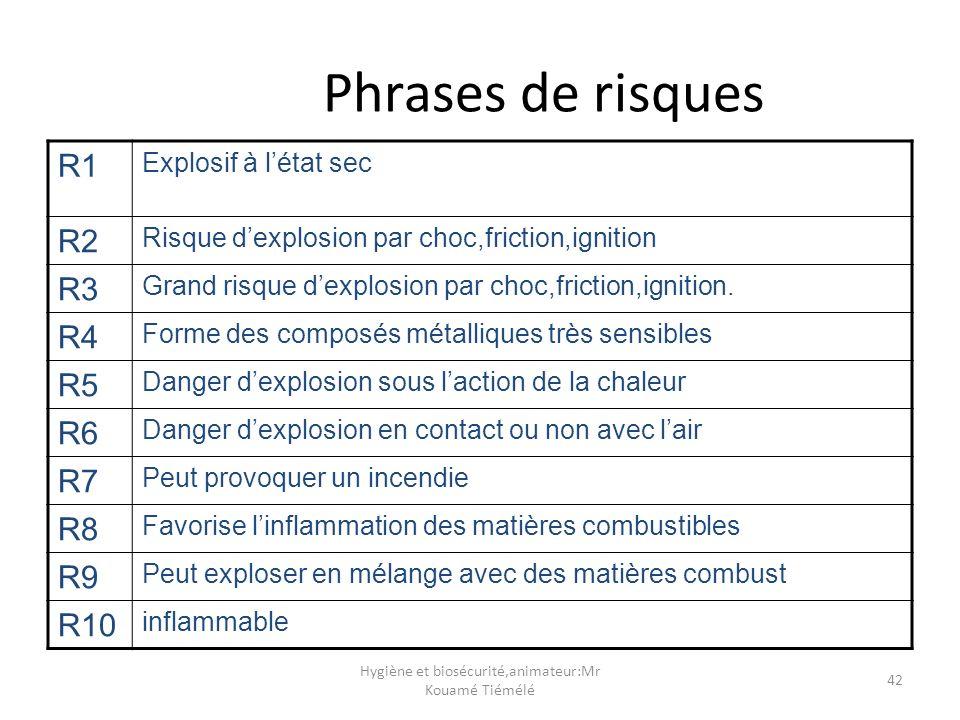 Hygiène et biosécurité,animateur:Mr Kouamé Tiémélé 42 Phrases de risques R1 Explosif à létat sec R2 Risque dexplosion par choc,friction,ignition R3 Gr