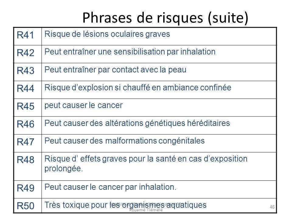 Hygiène et biosécurité,animateur:Mr Kouamé Tiémélé 46 Phrases de risques (suite) R41 Risque de lésions oculaires graves R42 Peut entraîner une sensibi