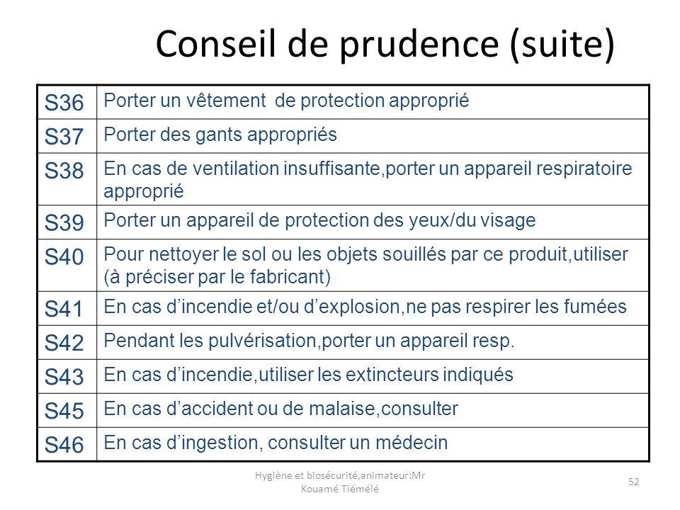 Hygiène et biosécurité,animateur:Mr Kouamé Tiémélé 52 Conseil de prudence (suite) S36 Porter un vêtement de protection approprié S37 Porter des gants