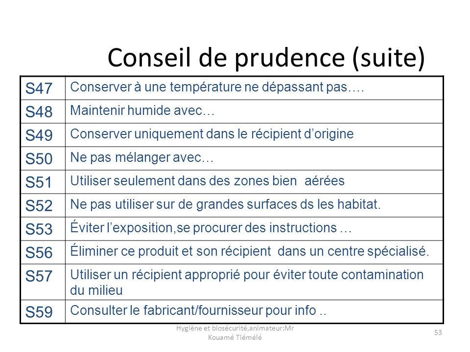 Hygiène et biosécurité,animateur:Mr Kouamé Tiémélé 53 Conseil de prudence (suite) S47 Conserver à une température ne dépassant pas…. S48 Maintenir hum