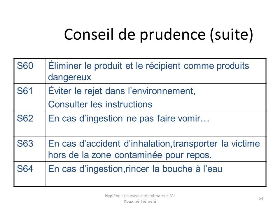 Hygiène et biosécurité,animateur:Mr Kouamé Tiémélé 54 Conseil de prudence (suite) S60Éliminer le produit et le récipient comme produits dangereux S61É