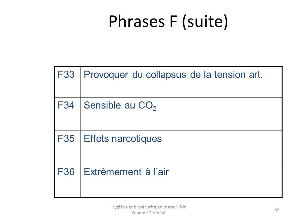 Hygiène et biosécurité,animateur:Mr Kouamé Tiémélé 58 Phrases F (suite) F33Provoquer du collapsus de la tension art. F34Sensible au CO 2 F35Effets nar