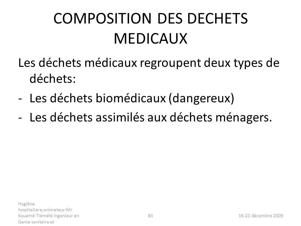 COMPOSITION DES DECHETS MEDICAUX Les déchets médicaux regroupent deux types de déchets: -Les déchets biomédicaux (dangereux) -Les déchets assimilés au