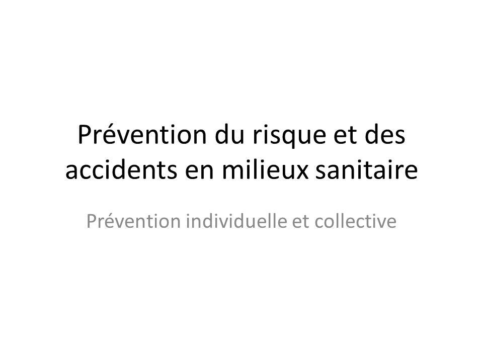 Prévention du risque et des accidents en milieux sanitaire Prévention individuelle et collective