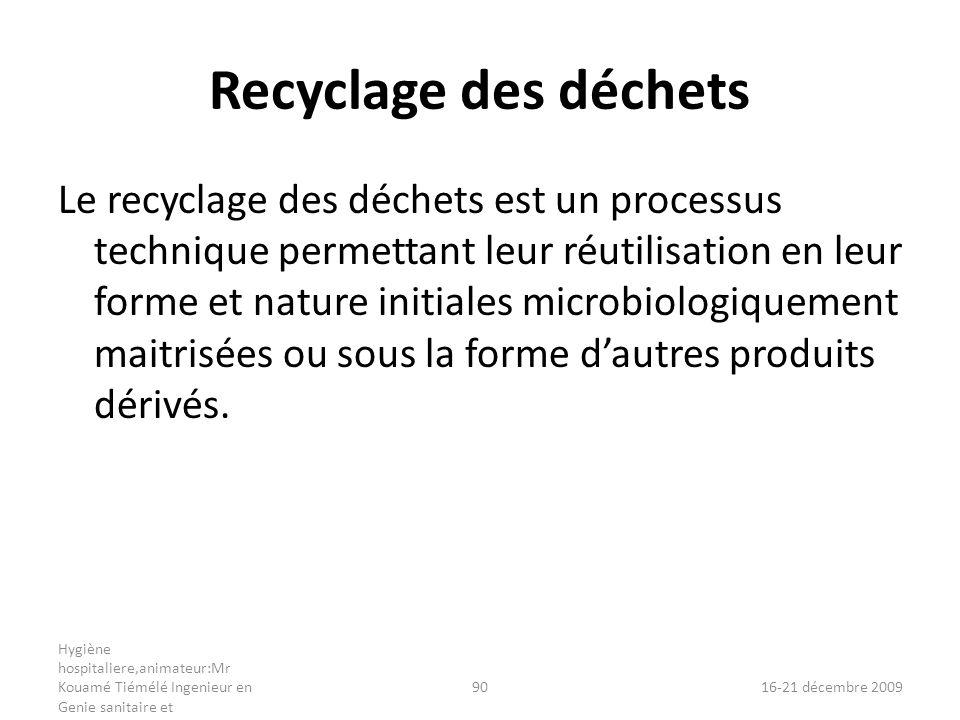 Recyclage des déchets Le recyclage des déchets est un processus technique permettant leur réutilisation en leur forme et nature initiales microbiologi
