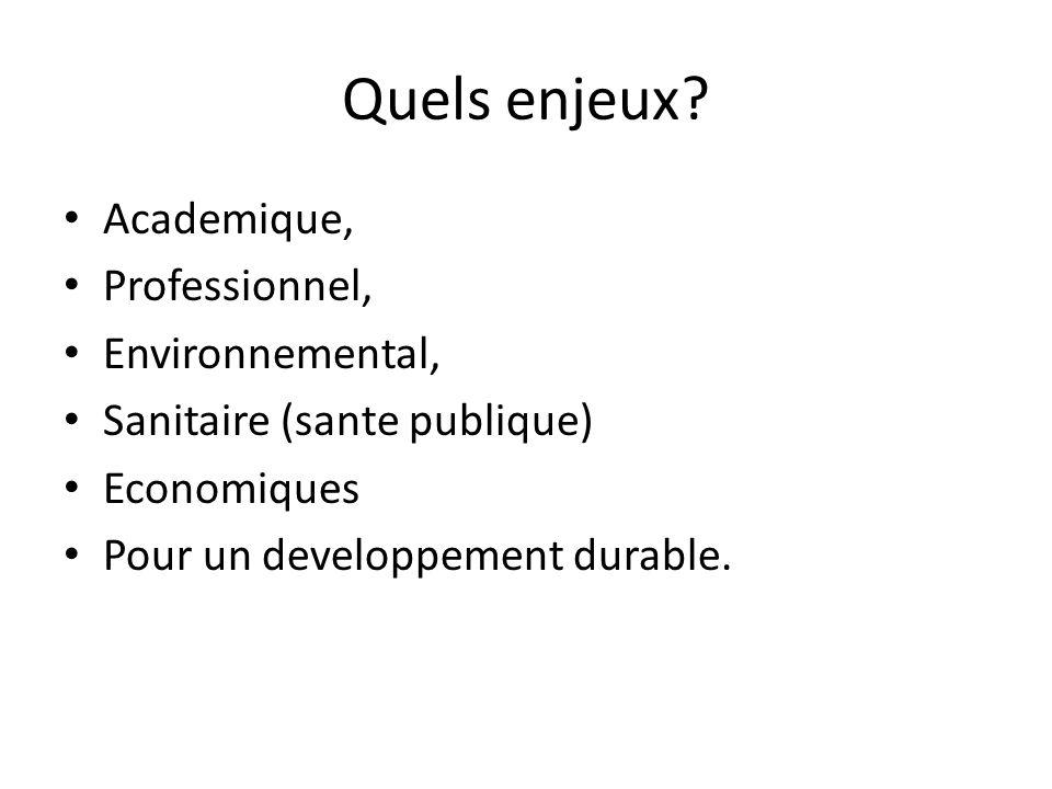Quels enjeux? Academique, Professionnel, Environnemental, Sanitaire (sante publique) Economiques Pour un developpement durable.