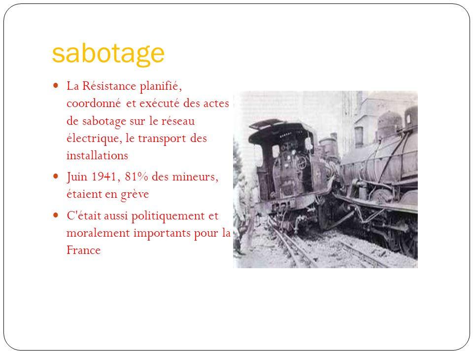 sabotage La Résistance planifié, coordonné et exécuté des actes de sabotage sur le réseau électrique, le transport des installations Juin 1941, 81% de