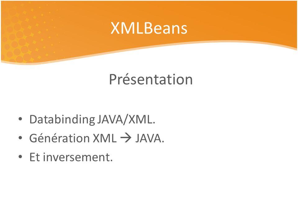 Présentation Databinding JAVA/XML. Génération XML JAVA. Et inversement. XMLBeans