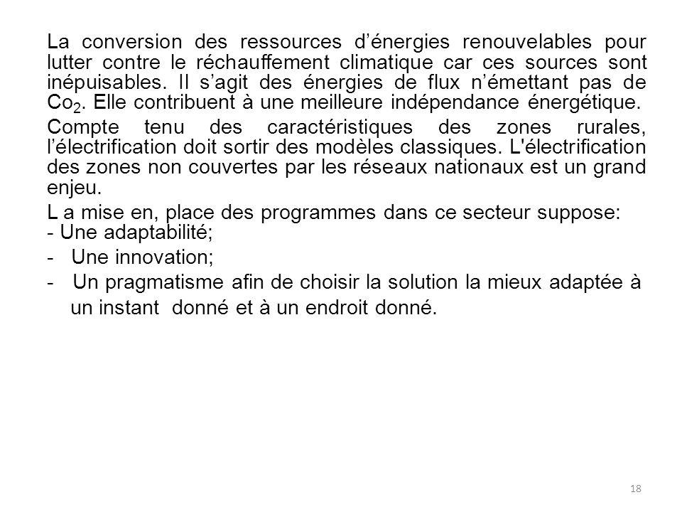 La conversion des ressources dénergies renouvelables pour lutter contre le réchauffement climatique car ces sources sont inépuisables.