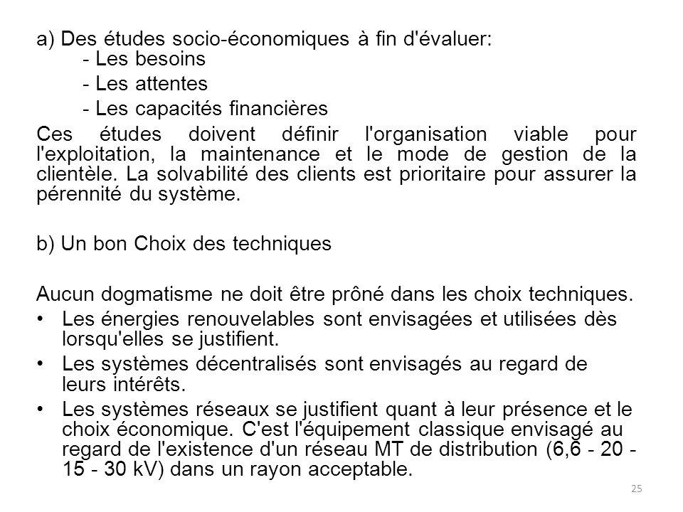 a) Des études socio-économiques à fin d évaluer: - Les besoins - Les attentes - Les capacités financières Ces études doivent définir l organisation viable pour l exploitation, la maintenance et le mode de gestion de la clientèle.