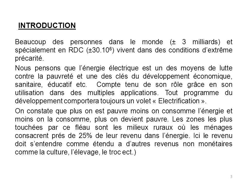 INTRODUCTION Beaucoup des personnes dans le monde (± 3 milliards) et spécialement en RDC (±30.10 6 ) vivent dans des conditions dextrême précarité.