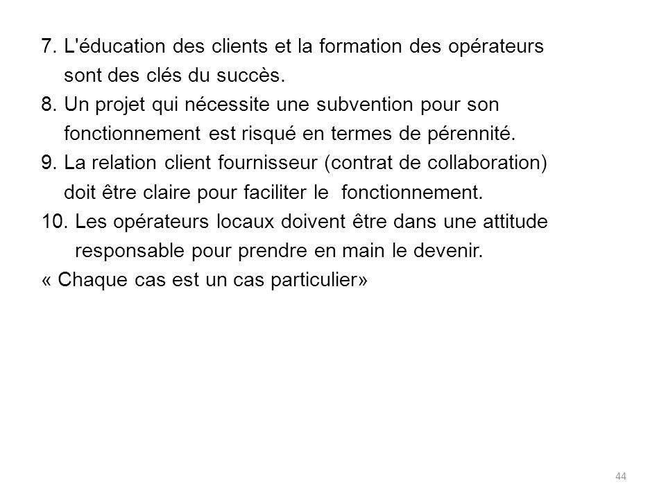 7.L éducation des clients et la formation des opérateurs sont des clés du succès.