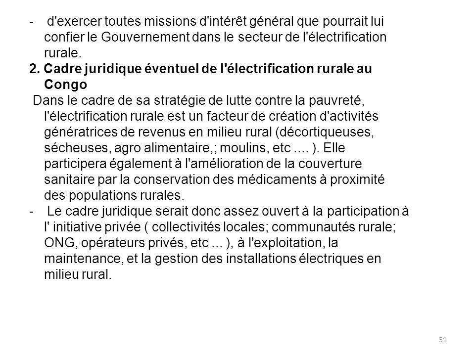 -d exercer toutes missions d intérêt général que pourrait lui confier le Gouvernement dans le secteur de l électrification rurale.