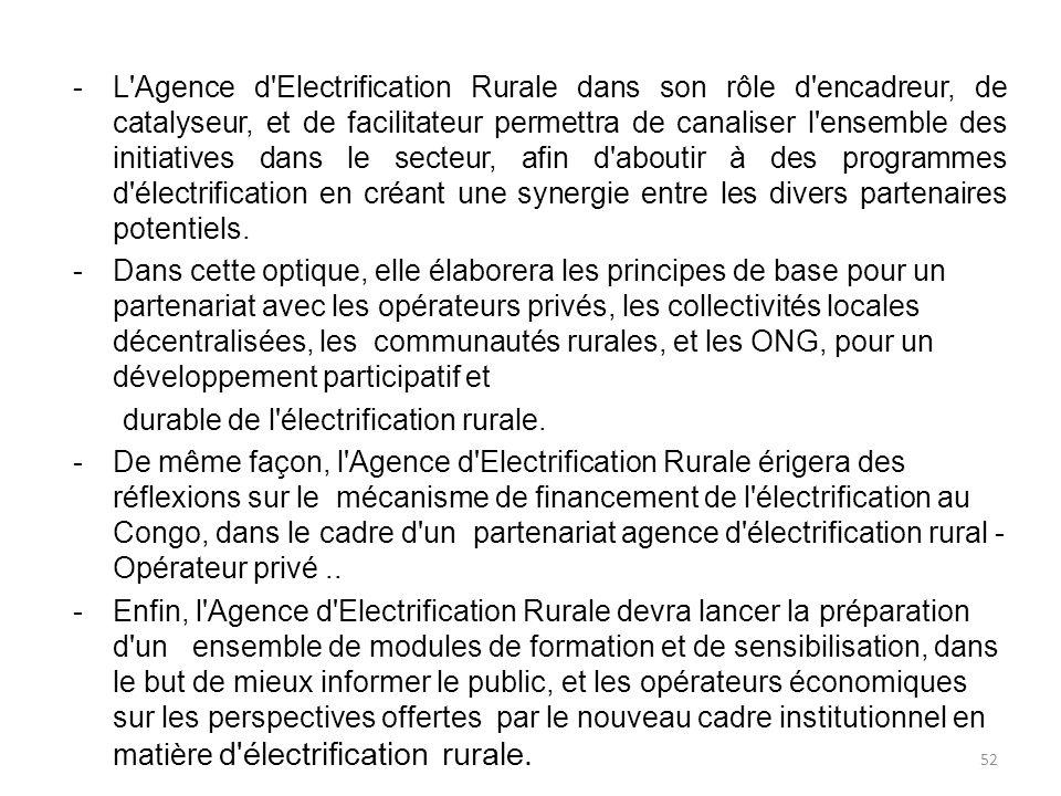 -L Agence d Electrification Rurale dans son rôle d encadreur, de catalyseur, et de facilitateur permettra de canaliser l ensemble des initiatives dans le secteur, afin d aboutir à des programmes d électrification en créant une synergie entre les divers partenaires potentiels.