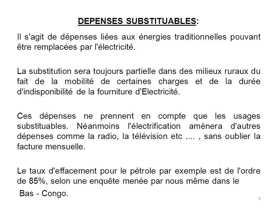 DEPENSES SUBSTITUABLES: Il s agit de dépenses liées aux énergies traditionnelles pouvant être remplacées par l électricité.