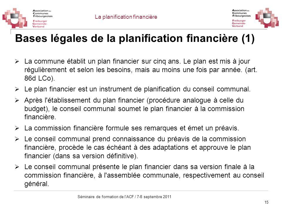 15 Séminaire de formation de l'ACF / 7-8 septembre 2011 Bases légales de la planification financière (1) La commune établit un plan financier sur cinq