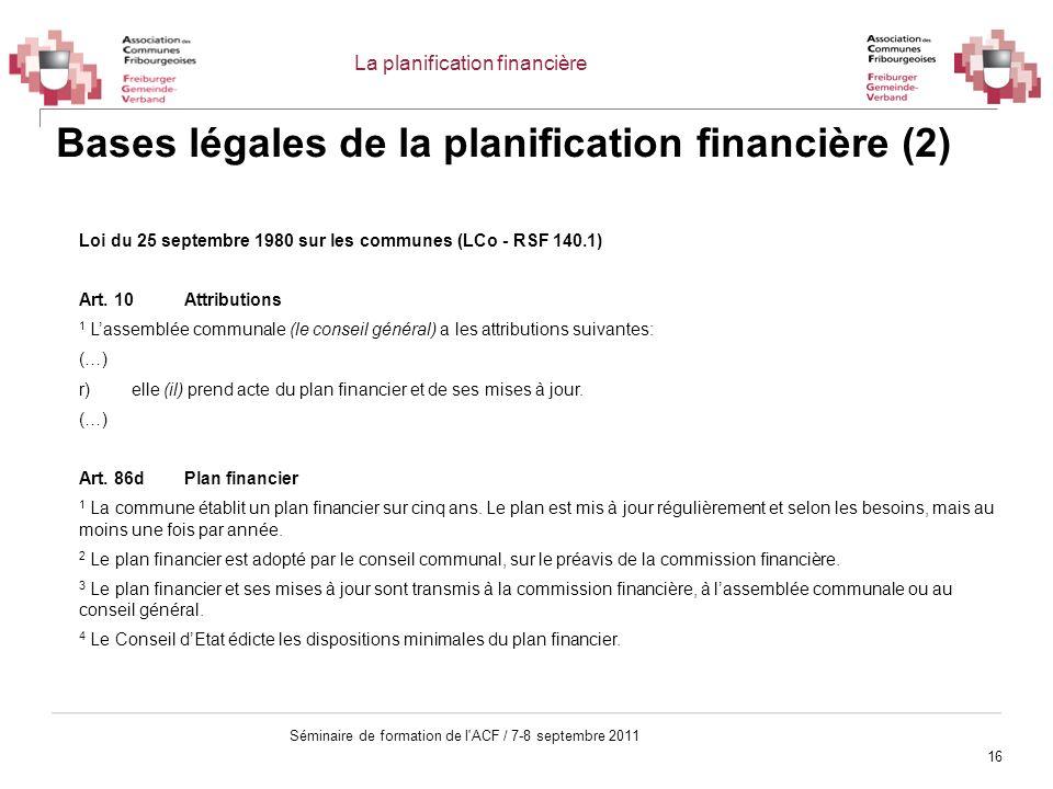 16 Séminaire de formation de l'ACF / 7-8 septembre 2011 Bases légales de la planification financière (2) Loi du 25 septembre 1980 sur les communes (LC